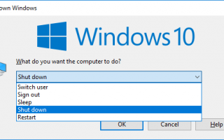 Jak zamknąć system Windows 10 bez menu Start
