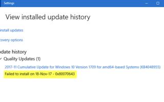 Instalacja Windows Update nie powiodła się — Błąd 0x80070643