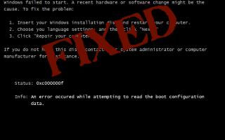 [ROZWIĄZANE] 0xc000000f Błąd w Windows XP / Vista, 7/8 / 8.1
