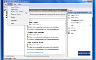 Importuj, eksportuj, naprawiaj i przywracaj domyślne zasady zapory w systemie Windows 10/8/7
