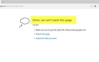 Poprawka Nie możemy osiągnąć tego błędu strony w Microsoft Edge