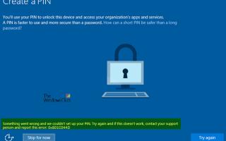 Błąd kodu PIN systemu Windows 10 w systemie Windows 10 — Coś poszło nie tak