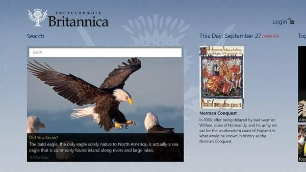Encyclopaedia Britannica Windows 8 App for School