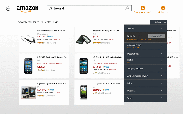 amazon-for-windows-8-review-product-search-filter