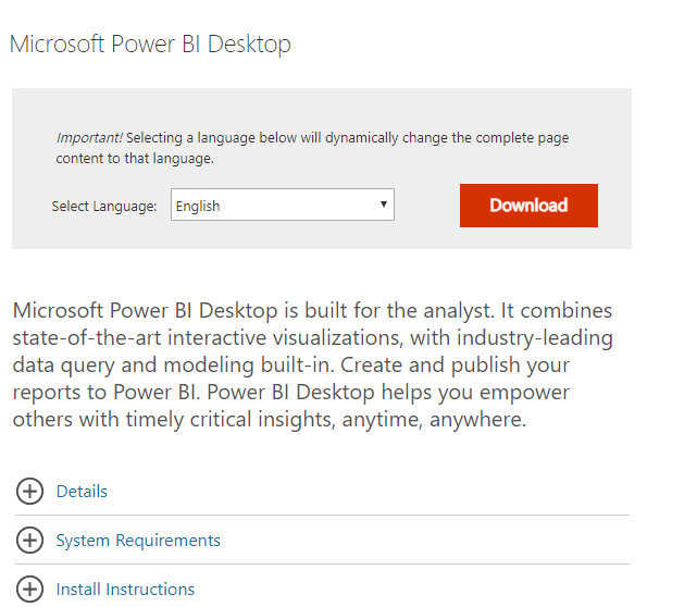 Power BI Desktop's download page Power BI Desktop won't sign in