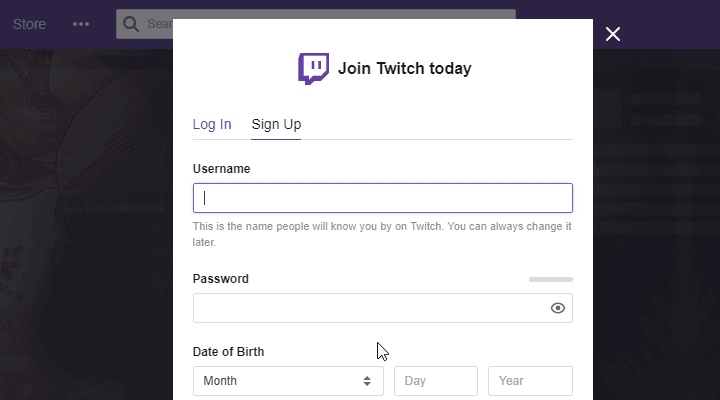 Twitch wygrał't let me sign up