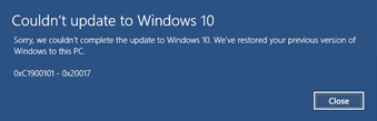 Błąd Windows Update 0xC1900101